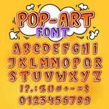 Komische Gussvektorkarikatur-Alphabetbuchstaben in der Pop-Arten-Art und alphabetische Textikonen für Typografieillustration lizenzfreie abbildung