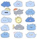 Komische Illustration des Karikaturgekritzels mit netten Wolken Verschiedene Gefühle Ansammlung Wetterikonen Emoticons für Stando Stockfoto