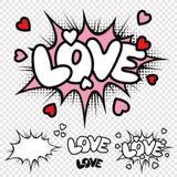 Komische Illustration Text der Vektor-Liebe Stockfoto