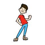 komische Karikatur, die Mann feiert Stockfoto