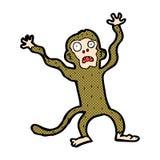 komische Karikatur erschrockener Affe Stockfotografie