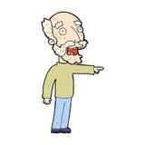 komische Karikatur erschrockenes Zeigen des alten Mannes Stockfotografie