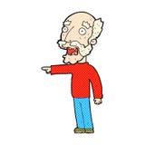 komische Karikatur erschrockenes Zeigen des alten Mannes Stockbilder