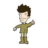 komische Karikatur sorgte sich den Mann, der Daumen herauf Symbol gibt Stockfoto
