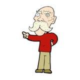 komische Karikatur störte das Zeigen des alten Mannes Stockbild