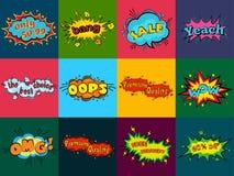 Komische Klangeffekte in der Pop-Arten-Vektorart Solide Blasenrede mit Wort und komischem Karikaturausdruck klingt Lizenzfreie Stockfotos