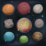 Komische Planeten eingestellt auf Raum-Hintergrund Stockbilder