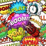 Komische Rede sprudelt nahtloses Muster Rocket Die große Glocke stellt aufwachen sicher Vektor vektor abbildung