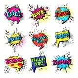 Komische Sprache-Chat-Blasen-gesetzte Knall-Art Style Sound Expression Text-Ikonen-Sammlung Lizenzfreies Stockbild