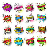 Komische Sprache-Chat-Blasen-gesetzte Knall-Art Style Sound Expression Text-Ikonen-Sammlung Lizenzfreies Stockfoto