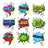 Komische Sprache-Chat-Blasen-gesetzte Knall-Art Style Sound Expression Text-Ikonen-Sammlung Lizenzfreie Stockbilder