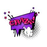 Komische Sprache-Chat-Blasen-Knall-Art Style Crazy Expression Text-Ikone Stockfotos