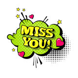 Komische Sprache-Chat-Blasen-Knall-Art Style Miss You Expressions-Text-Ikone Lizenzfreie Stockfotos