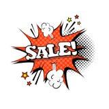 Komische Sprache-Chat-Blasen-Knall-Art Style Sale Expression Text-Ikone Lizenzfreies Stockbild