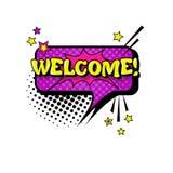 Komische Sprache-Chat-Blasen-Knall-Art Style Welcome Expression Text-Ikone Lizenzfreie Stockfotografie