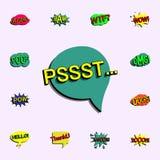 Komische Spracheblase mit Ausdrucktext pssst ikone Universalsatz der komischen Ikonen f?r Netz und Mobile lizenzfreie abbildung