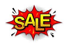 Komische Spracheblase mit Ausdrucktext Verkauf Vektor Lizenzfreie Stockfotos