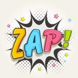 Komische Spracheblase mit buntem Text Zap Lizenzfreie Stockbilder