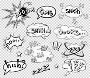 Komische Spracheblasen eingestellt, Klangeffektdesign für Hintergrund abfassend, Streifen Buchen Sie Knallwolke, Kriegsgefangen u Stockfotografie