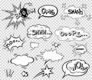Komische Spracheblasen eingestellt, Klangeffektdesign für Hintergrund abfassend, Streifen Buchen Sie Knallwolke, Kriegsgefangen u Stockbild