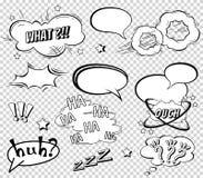 Komische Spracheblasen eingestellt, Klangeffektdesign für Hintergrund abfassend, Streifen Buchen Sie Knallwolke, Kriegsgefangen u Lizenzfreies Stockbild