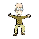komische wellenartig bewegende Arme des alten Mannes der Karikatur Lizenzfreies Stockbild