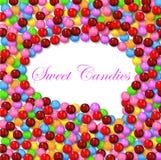 Komischer Artblasenhintergrund mit verschiedener süßer Süßigkeit auf Rahmen Lizenzfreies Stockbild