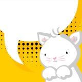 Komischer Ballon des weißen netten kleinen Miezekatzebabys Lizenzfreie Stockbilder