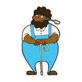 komischer Karikaturlandwirt, der auf Spazierstock sich lehnt Stockfoto