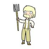 komischer Karikaturlandwirt mit Heugabel Stockbilder