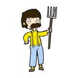 komischer Karikaturlandwirt mit Heugabel Stockfoto