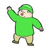 komischer Karikaturmann beim Hutwellenartig bewegen Lizenzfreie Stockfotografie