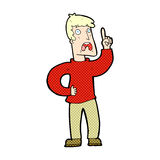 komischer Karikaturmann mit Beanstandung Stockbilder