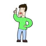 komischer Karikaturmann mit Beanstandung Stockfotografie