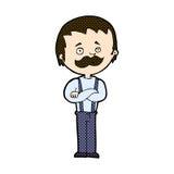 komischer Karikaturmann mit dem Schnurrbart Stockfotografie