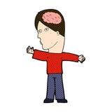 komischer Karikaturmann mit Gehirn Stockfotos