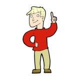 komischer Karikaturmann mit großartiger Idee Stockfotografie
