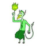 komischer Karikaturteufel im Hemd und in der Bindung Stockfoto