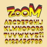 Komischer Knall Art Alphabet und Zahlen Stockbilder
