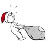 Komischer Mann als Weihnachtsmann Stockbild