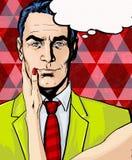 Komischer Mann mit der Frauenhand mit Spracheblase Pop-Arten-Mann Mann mit Sprache-Luftblase Stockfotos