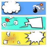 Komischer Spracheblasennetztitel eingestellt mit Lizenzfreie Stockfotografie