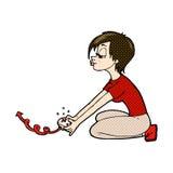 komisches Karikaturmädchen, das Computerspiele spielt Stockfotografie