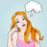 Komisches Mädchen-Denken lizenzfreie abbildung