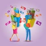 Komisches Vektorillustration Einkaufen Lizenzfreies Stockfoto