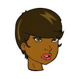 komisches weibliches Gesicht der Karikatur recht Lizenzfreies Stockfoto