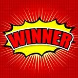 Komisk anförandebubbla för vinnare, tecknad film Royaltyfri Fotografi