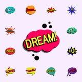 Komisk anförandebubbla med den dröm- symbolen för uttryckstext universell uppsättning för komiska symboler för rengöringsd royaltyfri illustrationer