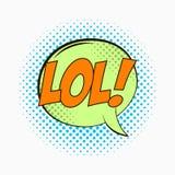 Komisk anförandebubbla med sinnesrörelser - LOL Tecknade filmen skissar av dialogeffekter i stil för popkonst på prickhalvtonbakg stock illustrationer