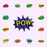 Komisk anförandebubbla med symbolen för uttryckstextpow universell uppsättning för komiska symboler för rengöringsduk och m royaltyfri illustrationer